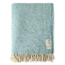 Donegal Teal Heavy herringbone dappled wool throw, L183 x W142cm, teal