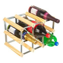 9 bottle wine and soft drink rack, H24 x W35 x D23cm, natural/galvanised steel