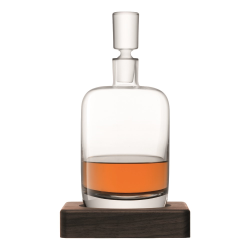 Whisky Renfrew decanter with walnut base, 1.1 litre, clear