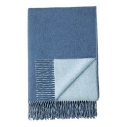 Plain Reversible double face throw, 190 x 140cm, denim / pale blue