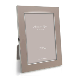 """Enamel Range Photograph frame, 8 x 10"""" with 24mm border, Pebble With Silver Plate"""