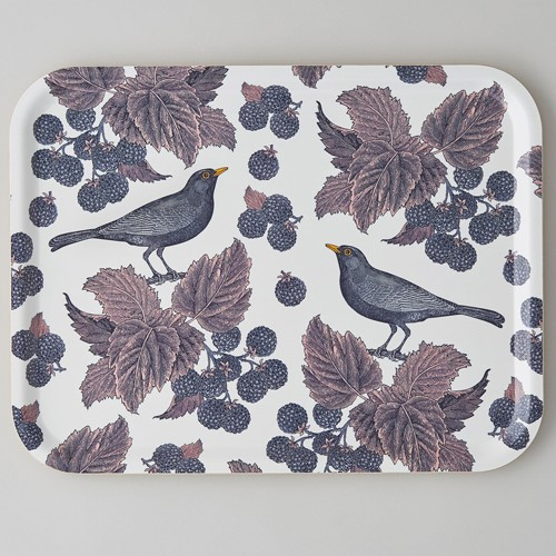 Blackbird & Bramble Large tray, 43 x 33cm, birch veneer/purple/pink