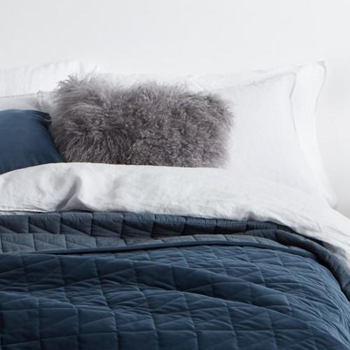 Julius - Velvet Quilted King bedspread, W225 x L220cm, Ink Blue