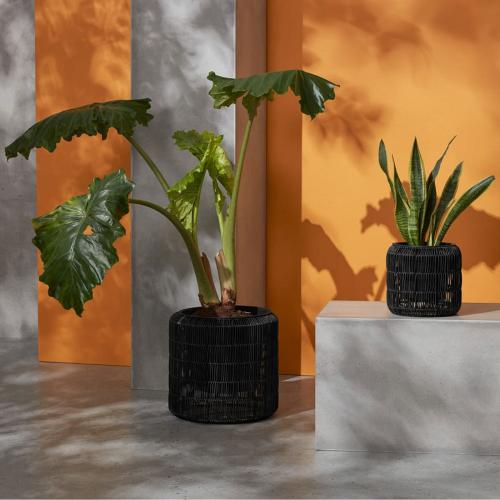 Nadda Set of 2 round planters, H28cm & 45cm, Black