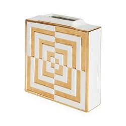 Futura Op art square vase, W21.59 x D6.35 x H24.77cm, white/metallic gold