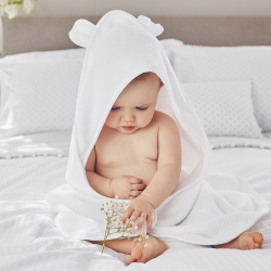 Hydrocotton hooded baby towel, small, White