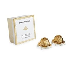 Tortoise Salt & pepper shakers, gold