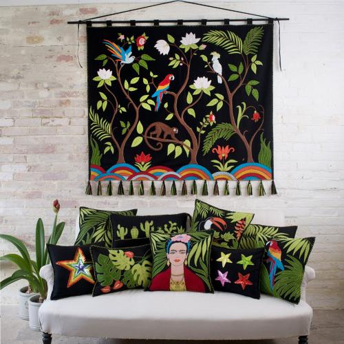 Tropical Cheese Plant Cushion, 48 x 35cm, Black