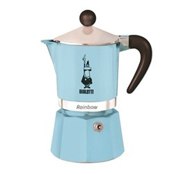 Rainbow Aluminium stovetop coffee maker, 6 cup, light blue