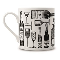 Wine Lovers Mug, H9 x Dia 8cm, black/white
