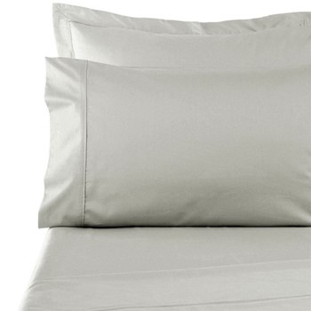 300 Thread Count Plain Dye King size fitted sheet, L200 x W153 x H35cm, silver