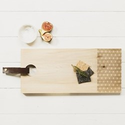 Rectangular serving board with leather tab L45 x W20 x H2cm