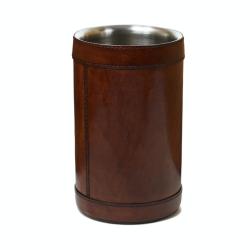 Single wine cooler, H21 x D13.5cm, Tan Leather