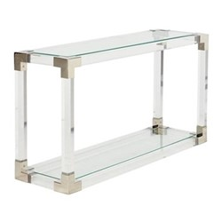 Oleta Console table, L131 x W40 x H71cm, clear and stainless steel