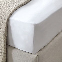 Connaught - Silk Cotton Sateen King fitted sheet, W150 x L200 x D30cm, Chalk