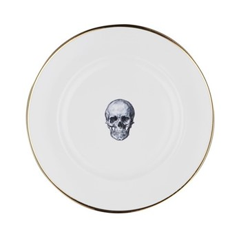 Skull Dinner plate, 27cm, crisp white/burnished gold edge