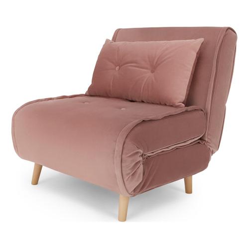 Haru Velvet single sofa bed, H78 x W77 x D86cm, Vintage Pink