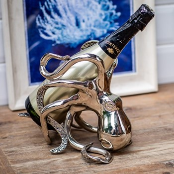 Octopus Wine bottle holder, H19 x W26 x D16cm, aluminium