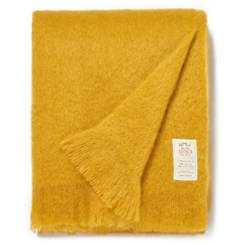 Mohair throw, L183 x W142cm, amber