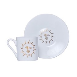 Sun Espresso cup and saucer, 80ml, white and gold