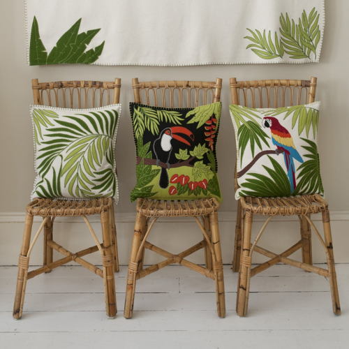 Tropical Parrot Cushion, 46 x 46cm, Cream