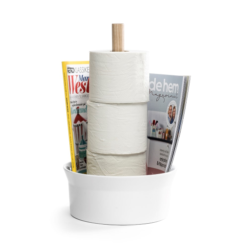 Angle Bath holder, 14 x 14 x 39cm, Shiny White/Ash