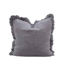 Olivia Ruffle Cushion, 65 x 65cm, pewter