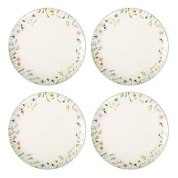 Fleur des Pres Set of 4 dinner plates, W2.8 x H2.5cm, cream