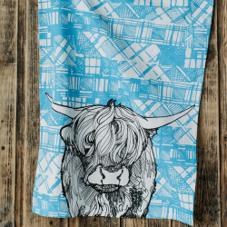 Highland Cow Tea Towel, 48 x 76cm
