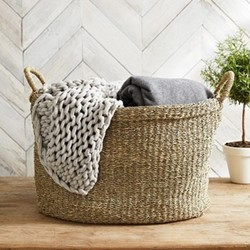 Seagrass Large oval basket, H38 x W43 x L56cm, natural