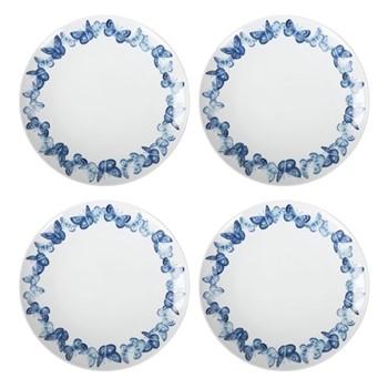 Azure Set of 4 dinner plates, W2.8 x H3.5cm, blue/white