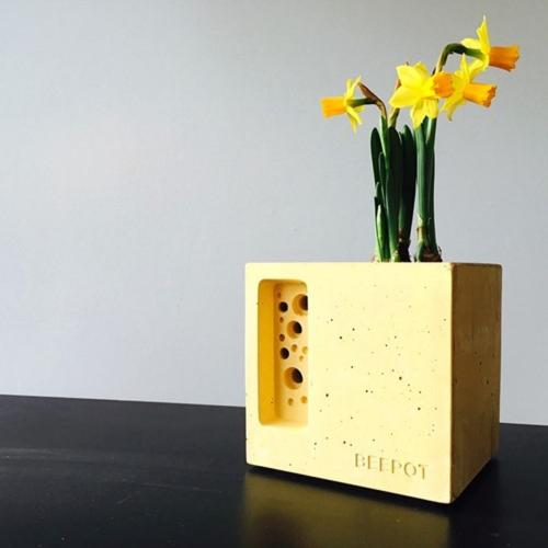 Mini Beepot Concrete planter and bee house, Yellow