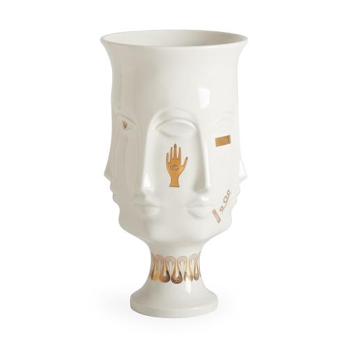 Gilded Muse Dora maar urn, H38cm x D20cm, White/Metallic Gold
