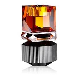 Dakota T-light holder, L9 x H16.5 x D9cm, amber/clear/black