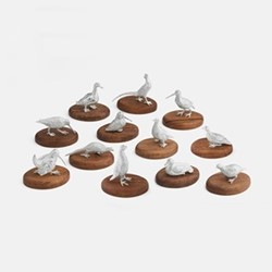 The Highland Safari Collection Set of 12 placecard holders, L7 x W5 x H8cm, game birds
