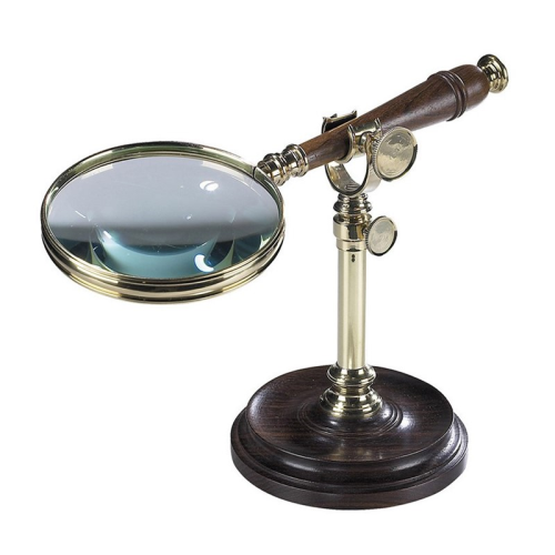 Magnifying glass with stand, H18 x W11.5 x L25cm, Rosewood/Brass