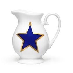 Lucky Stars Cream jug, H10 x W10cm, crisp white & cobalt blue/burnished gold details