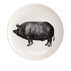 Pig Plate, Dia20cm, black/white