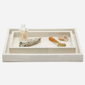 Arles Pair of trays, white faux horn