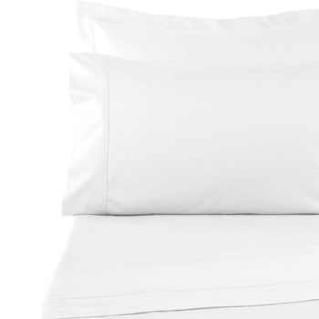 300 Thread Count Plain Dye King size fitted sheet, L200 x W153 x H35cm, white