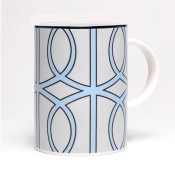 Loop Mug, 10.2 x 7.6cm, pale grey/aqua (black rim)