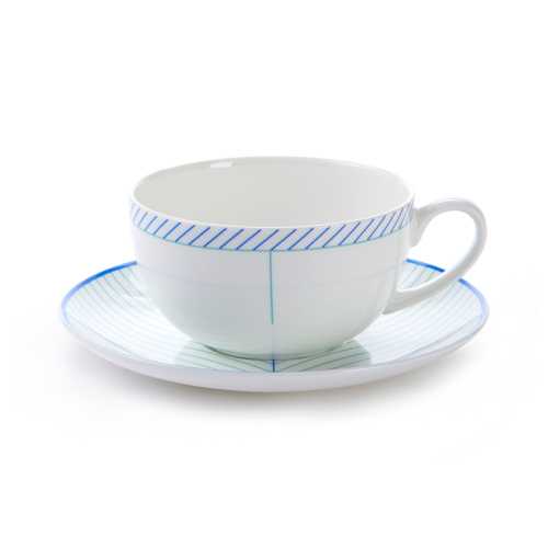 Ebb Cappuccino cup and saucer, H7.5 x D11cm, Blue/Turquoise