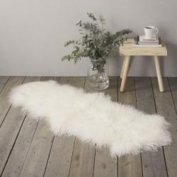 Tibetan Sheepskin rug, W55 x L150cm, Ivory