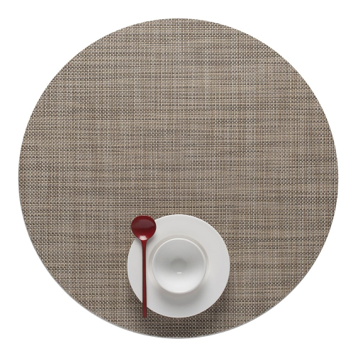 Mini Basketweave Set of 4 round placemats, 38cm, Linen