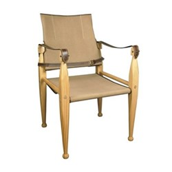 Leather/Canvas Chair, H89 x W56 x L55cm, honey pine/khaki canvas/leather
