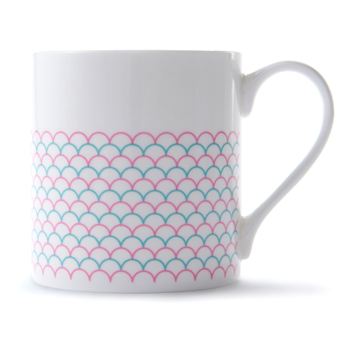 Ripple Mug, H9 x D8.5cm, Pink/Turquoise