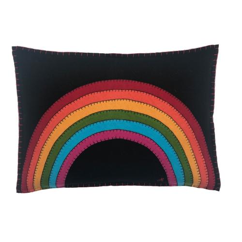 Rainbow Cushion, 48 x 35cm, Black