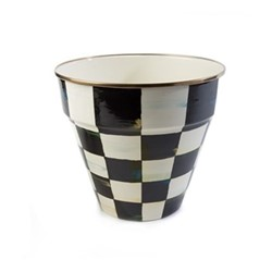 Courtly Check Garden pot, D 22.86 x H20.32cm, black & white