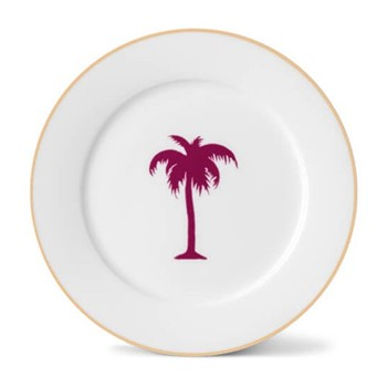 Palm Tree Side plate, 21cm, hand-painted gold rim