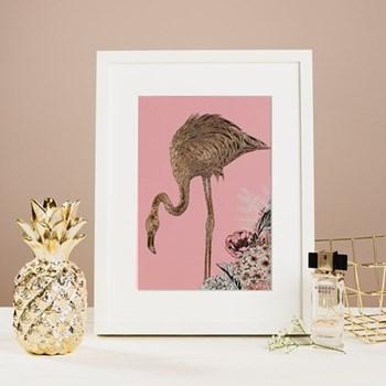 Flamingo Mounted print, 32.5 x 43cm, white frame